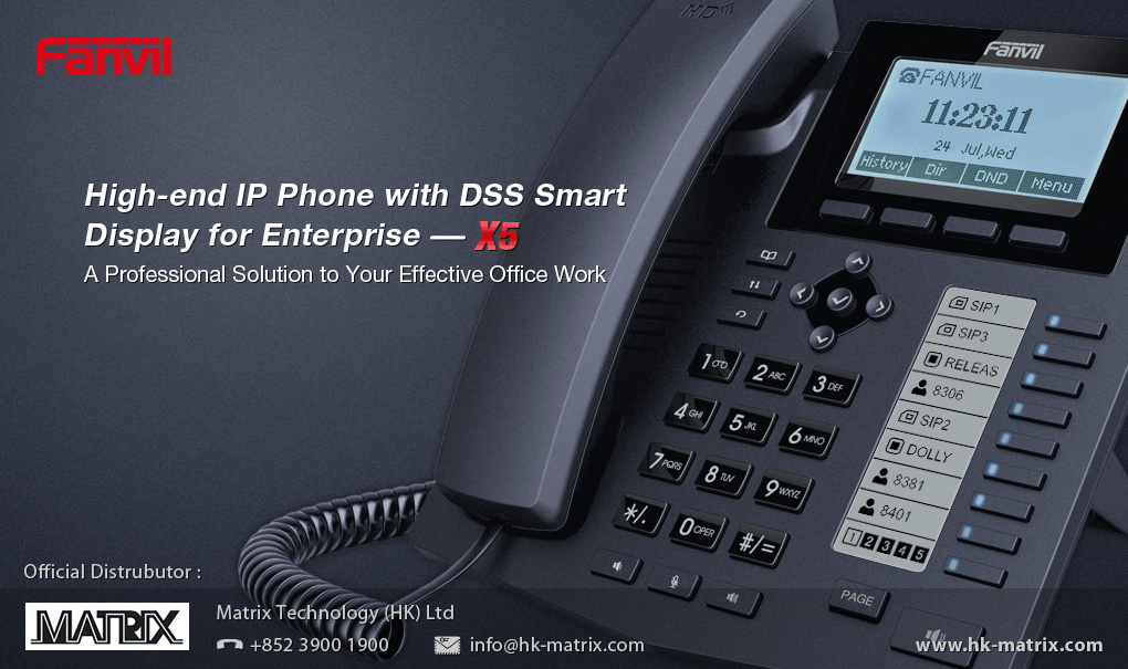 Fanvil X5 IP Phone with Intelligent DSS Key-mapping LCD display for Enterprise Application