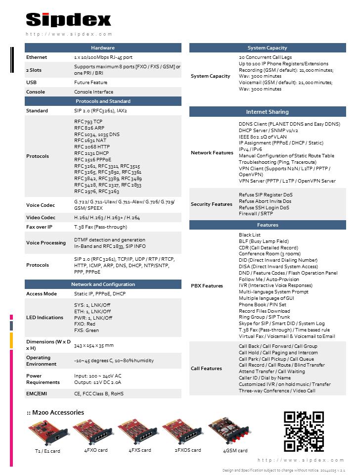 Sipdex M200 IPPBX Datasheet *  www.hk-matrix.com |Sales Hotline 39001988