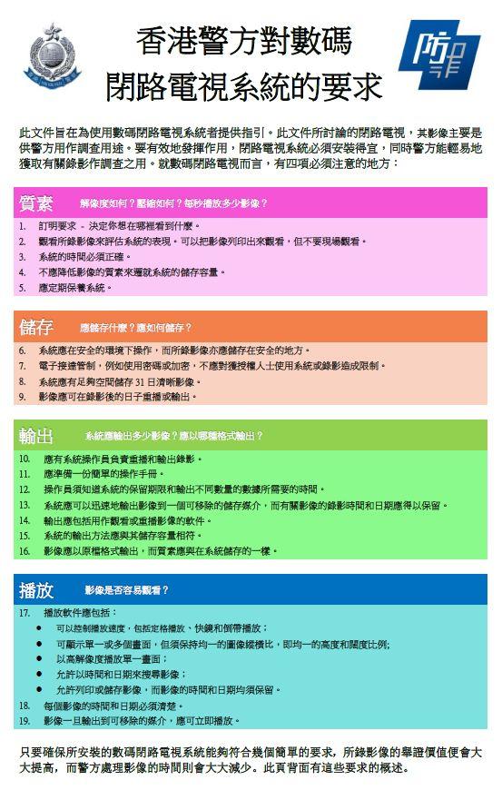 香港警方對數碼閉路電視系統的要求
