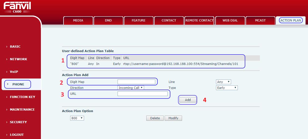如何在Fanvil C600 IP Phone上利用RTSP檢視HIKVISION海康威視的IP CAMERA視頻?