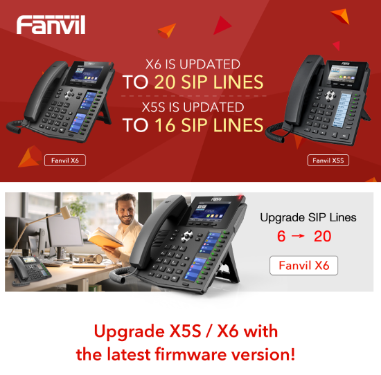 Fanvil X5S X6 New Firmware : Increase the Number of SIP Account