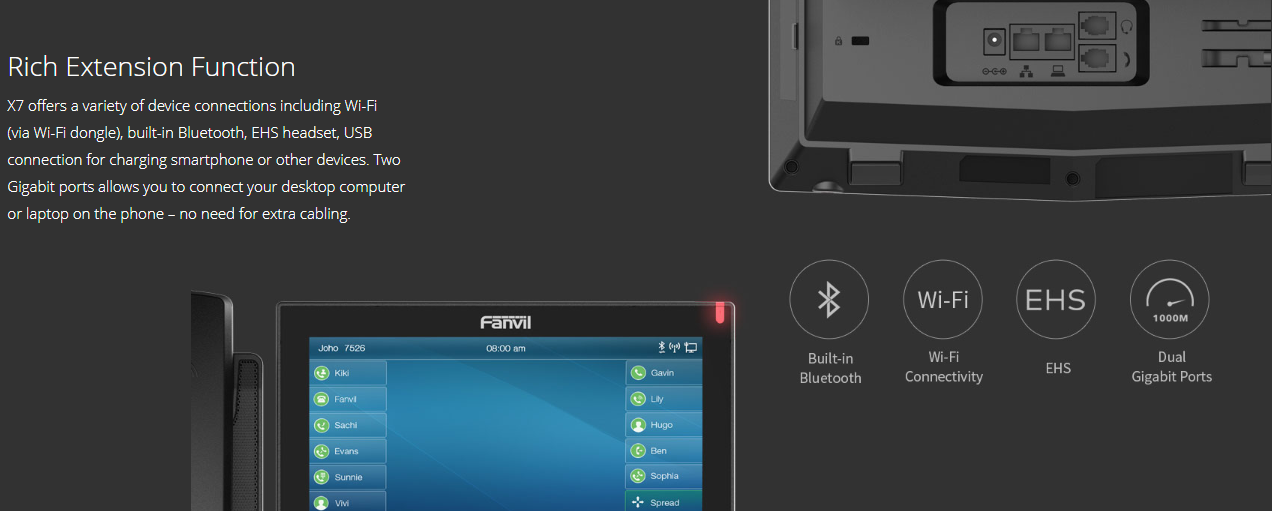 "Fanvil X7 7"" touch Screen Gigabit IP Phone (POE) - Hong Kong Distributor - 香港代理"